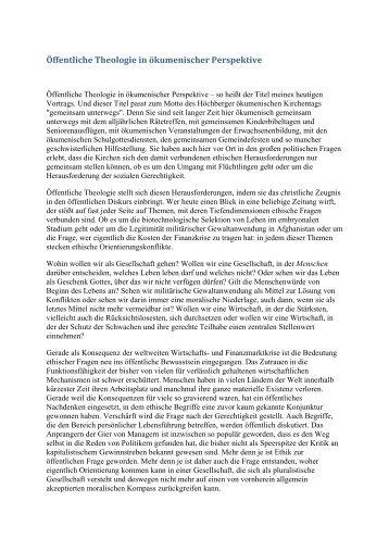 Öffentliche Theologie in ökumenischer Perspektive