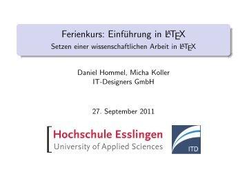 Ferienkurs: Einführung in LaTeX - Setzen einer wissenschaftlichen ...