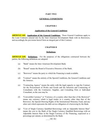 PART TWO GENERAL CONDITIONS CHAPTER I Application of the ...
