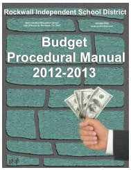 Budget Procedural Manual 2012-2013 Budget ... - Rockwall ISD