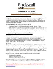 AP English III (11 grade) - Rockwall ISD