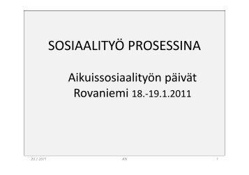 SOSIAALITYÖ PROSESSINA - Sosiaalikollega