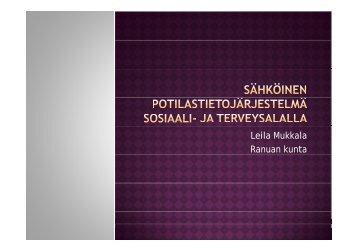 Leila Mukkala Ranuan kunta - Sosiaalikollega