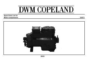 Spare Parts List for Motor Compressors D3D*5 09/03