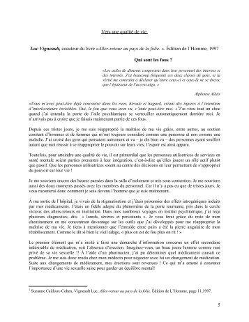 5 Vers une qualité de vie. Luc Vigneault, coauteur du livre ... - APUR