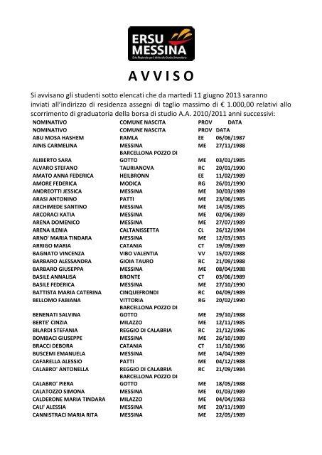 taglia 7 sempre popolare sito ufficiale Avviso pagamento borsa di studio A.A. 2010-2011 ... - ERSU ...