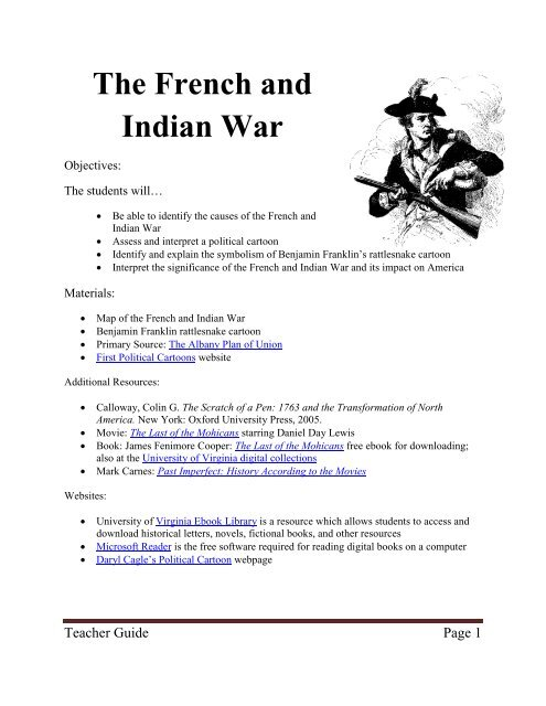 The French And Indian War Lesson Plan Last Best Hope
