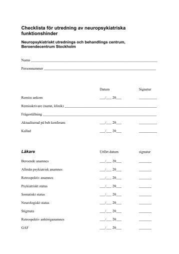 Checklista för utredning av neuropsykiatriska funktionshinder