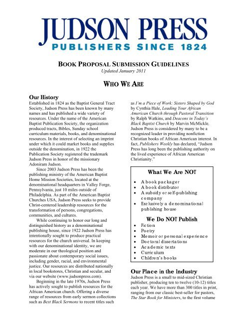 book proposal submission guidelines - Judson Press