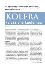Kolera kylvää yhä kuolemaa - Kemia-lehti