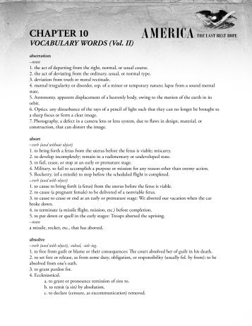 AMERICA: THE LAST BEST HOPE CHAPTER 10 VOCABULARY ...
