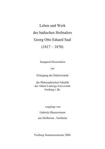 Text Dissertation G. Saal - FreiDok - Albert-Ludwigs-Universität ...