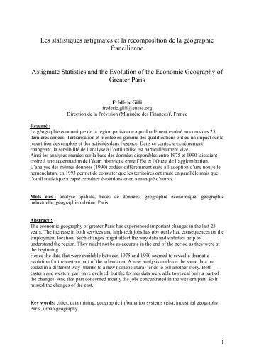 Les statistiques astigmates et la recomposition de la ... - Frédéric Gilli