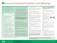Bionector Important Cautions and Warnings - Vygon (UK)