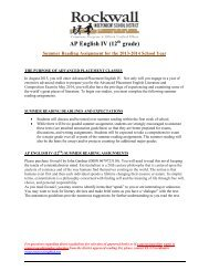 AP English IV (12 grade) - Rockwall ISD