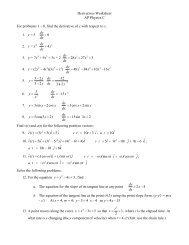 Derivatives Worksheet