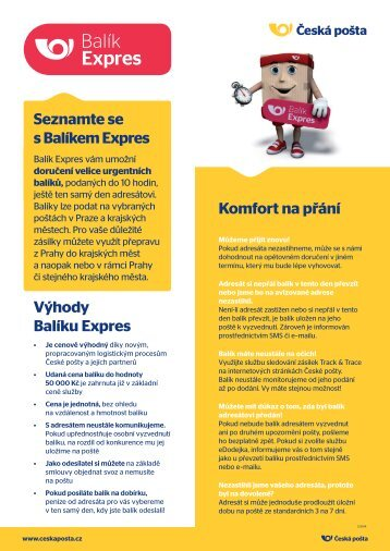 Produktový list - Balík Expres - Česká pošta
