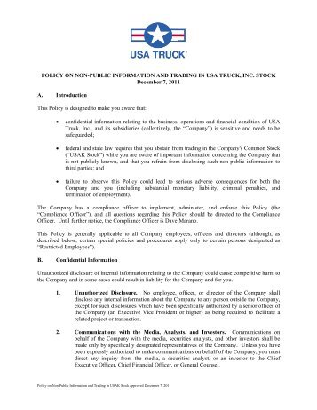 Policy on Non-Public Information and Trading in USA Truck, Inc. Stock