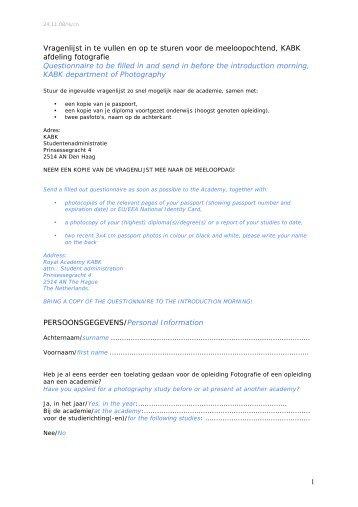 1 Vragenlijst in te vullen en op te sturen voor de ... - Kabk