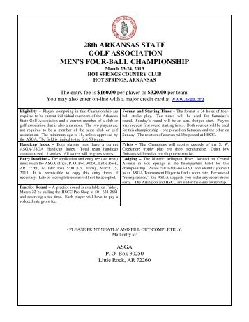 Registration Form - Arkansas State Golf Association