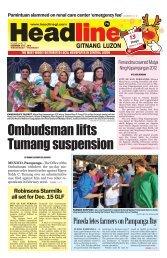 Ombudsman lifts Tumang suspension - Headline Gitnang Luzon