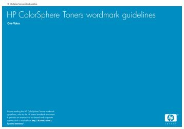 HP ColorSphere Toners wordmark guidelines