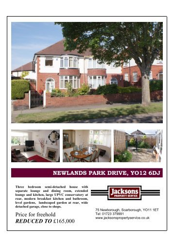 NEWLANDS PARK DRIVE, YO12 6DJ Price for freehold REDUCED ...