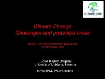 Climate Change Challenges and protected areas - Dinaric Arc parks
