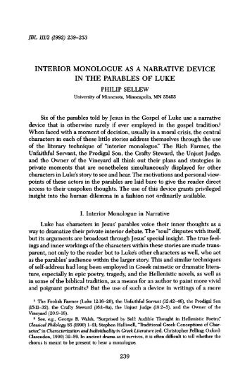Interior Monologue As A Narrative Device In The Parables Of Luke