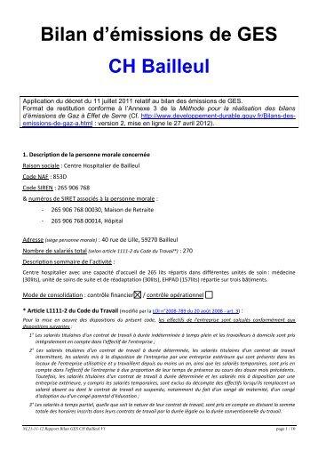 Bilan d'émissions de GES CH Bailleul - Le Centre Hospitalier de ...