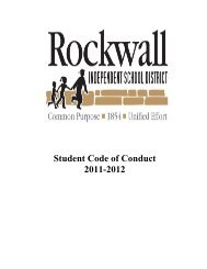 Student Code of Conduct 2011-2012 - Rockwall ISD