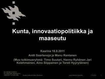 Antti Saartenoja ja Manu Rantanen - Maaseudun uusi aika
