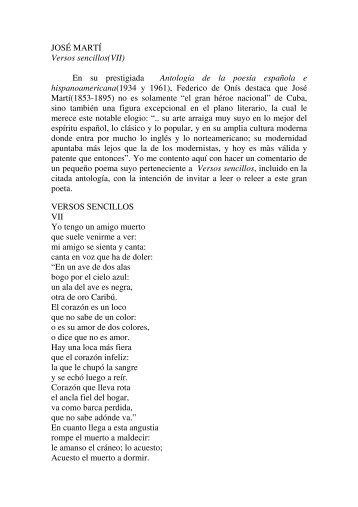 JOSÉ MARTÍ Versos sencillos(VII) En su ... - José Siles Artés