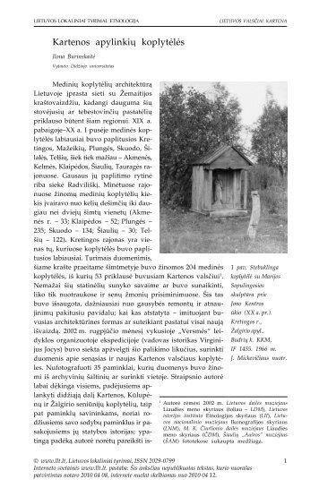 Kartenos apylinkių koplytėlės - Lietuvos lokaliniai tyrimai