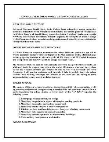 a.p. world history syllabus - Birdville Independent School District