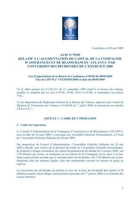 Avis N 79 09 Relatif A L Augmentation De Capital De La Compagnie D