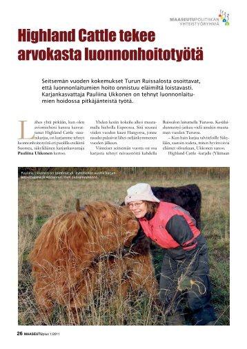 Highland Cattle tekee arvokasta luonnonhoitotyötä - Maaseudun ...
