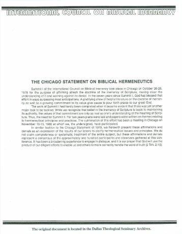 Chicago Statement on Biblical Hermeneutics - Dallas Theological ...