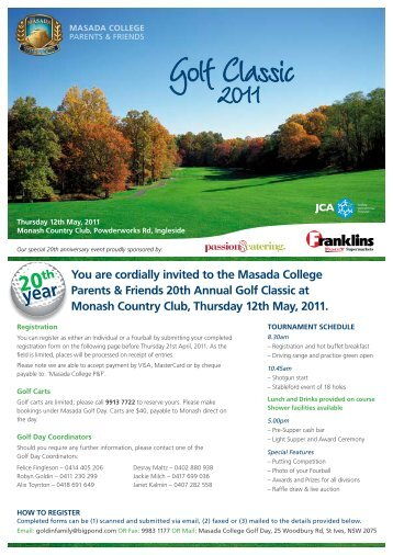 You are cordially invited to the Masada College Parents & Friends ...