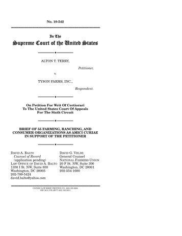 Terry v. Tyson Farms, Inc. - Law Offices of David A. Balto