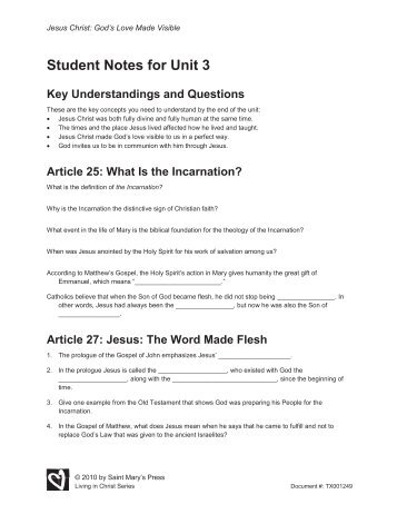 Student Notes for Unit 3 - Saint Mary's Press