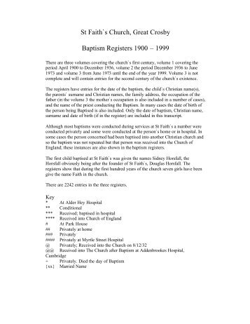 Baptism list - St Faith's home page