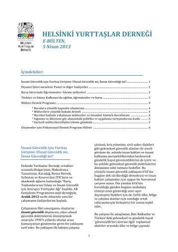 hYd E-Bulten - Mart - Nisan 2013 - Helsinki Yurttaşlar Derneği