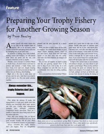 Preparing Your Trophy Fishery for Another Growing Season