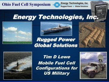 Mobile Fuel Cell Configurations for US Military - Ohio - THE Fuel ...