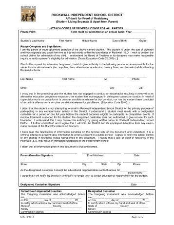 Affidavit for Student Living Separate from Parent - Rockwall ISD