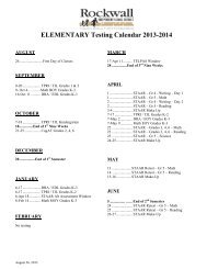 RISD Testing Calendar - Rockwall ISD