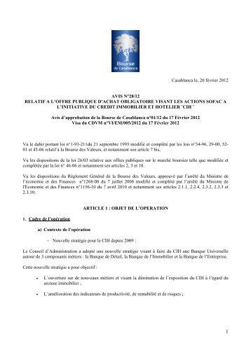 Casablanca le, 20 février 2012 AVIS N°28/12 RELATIF A L'OFFRE ...