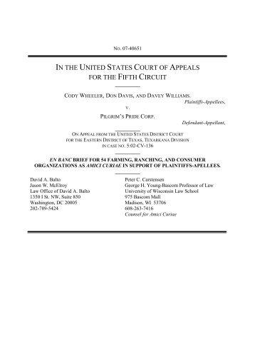 Wheeler, et al. v. Pilgrim's Pride Corp. - Law Offices of David A. Balto