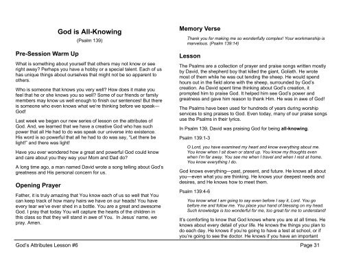 Lesson 6: God is All-Knowing (Psalm 139)